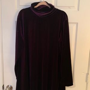 NWOT Joan Vaas Purple Velvet Tunic